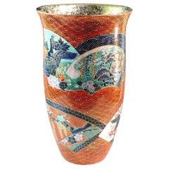 Gilded Japanese Red Porcelain Vase by Master Artist