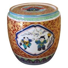 Gilded Japanese Tea Ceremony Mizusashi by Master Porcelain Artist, circa 2000