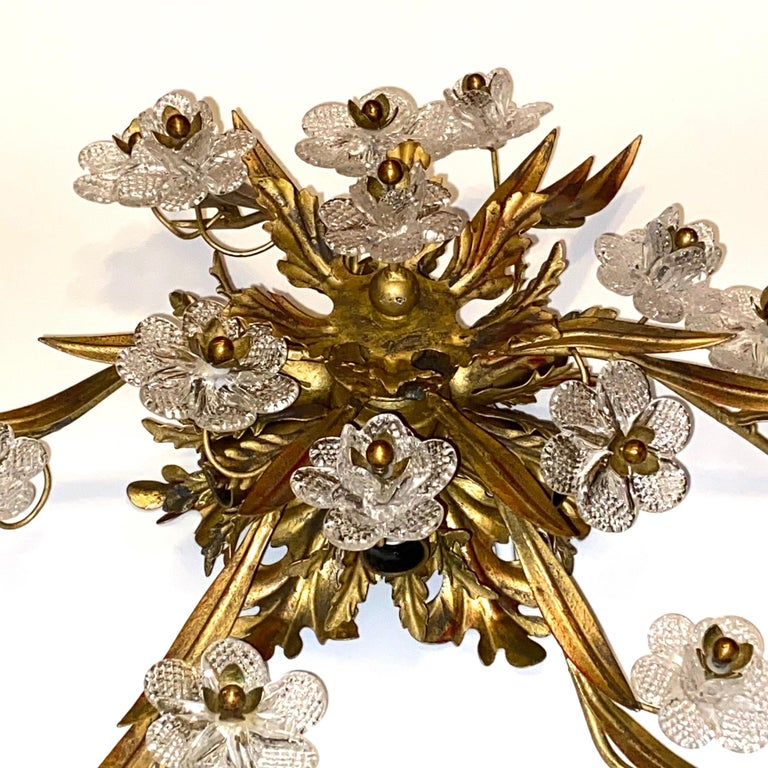 Gilded Leaf and Murano Glass Tole Hollywood Regency Flushmount Banci, Italy For Sale 5