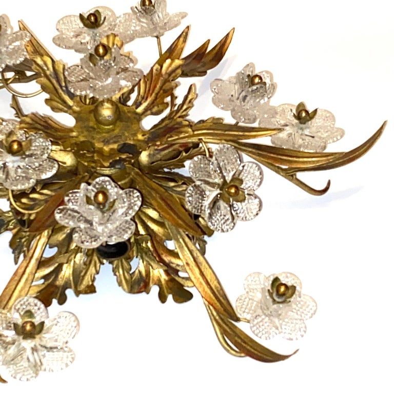 Gilded Leaf and Murano Glass Tole Hollywood Regency Flushmount Banci, Italy For Sale 6