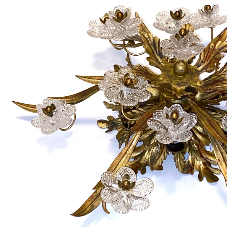 Gilded Leaf and Murano Glass Tole Hollywood Regency Flushmount Banci, Italy For Sale 7