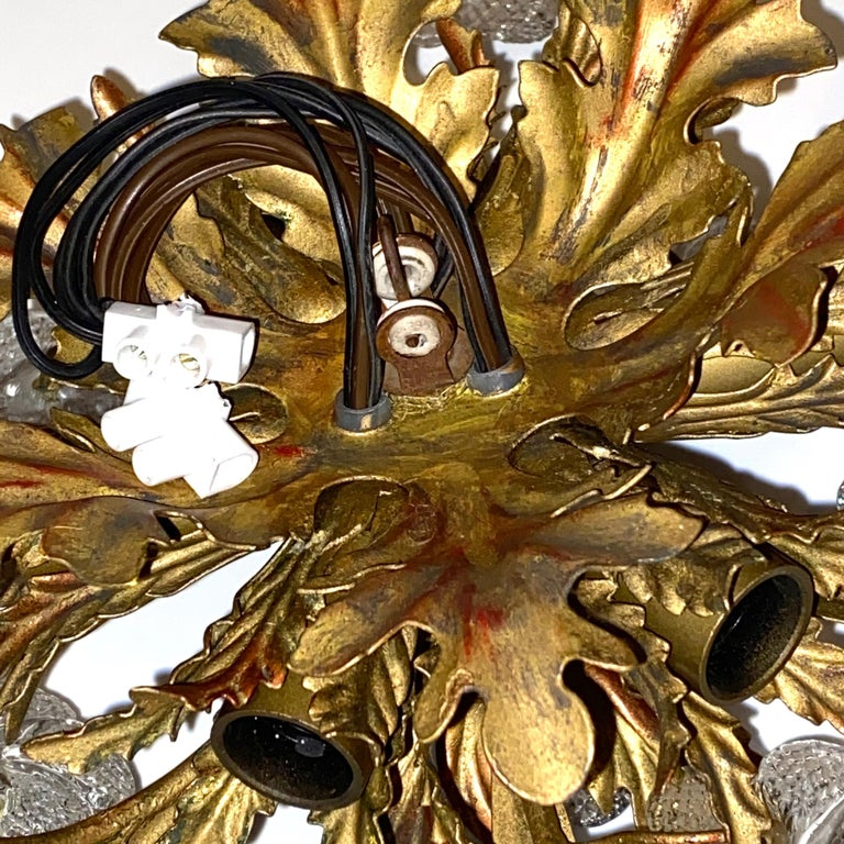 Gilded Leaf and Murano Glass Tole Hollywood Regency Flushmount Banci, Italy For Sale 8