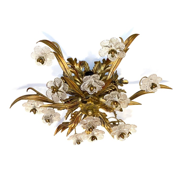 Italian Gilded Leaf and Murano Glass Tole Hollywood Regency Flushmount Banci, Italy For Sale