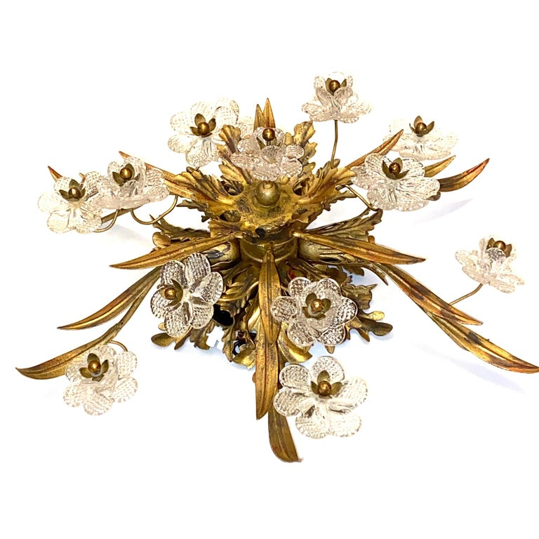 Mid-20th Century Gilded Leaf and Murano Glass Tole Hollywood Regency Flushmount Banci, Italy For Sale