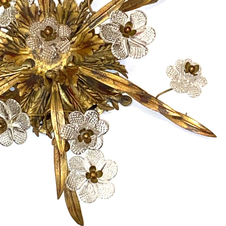 Gilded Leaf and Murano Glass Tole Hollywood Regency Flushmount Banci, Italy For Sale 3