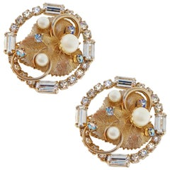 Gilded Leaf Rhinestone Earrings by Hobé, Signed circa 1950s