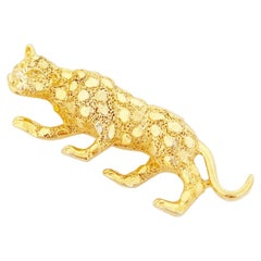 Gilded Leopard Figural Brooch By Gerry's, 1980s