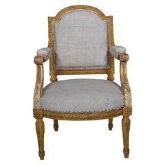 Gilded Louis XVI Fauteuil Upholstered in European Burlap, Origin France