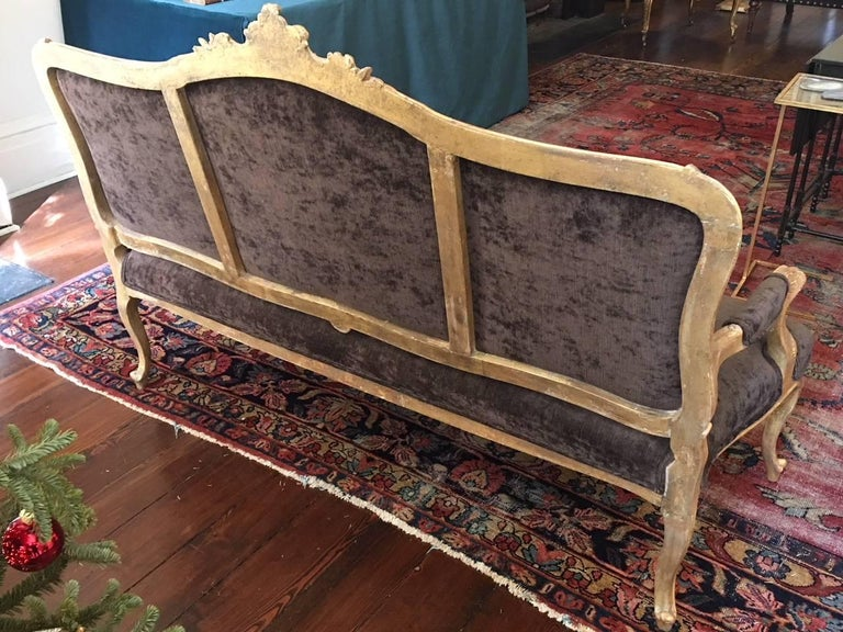 Gilded Louis XVI Style Settee, Late 19th-Early 20th Century For Sale 5