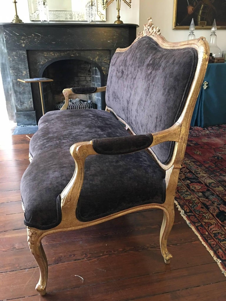 19th Century Gilded Louis XVI Style Settee, Late 19th-Early 20th Century For Sale