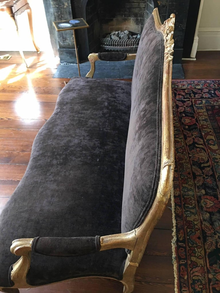 Gilded Louis XVI Style Settee, Late 19th-Early 20th Century For Sale 4