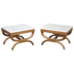 Gilded Marble-Top Low Hollywood Regency End Occasional Tables, circa 1950s, Pair