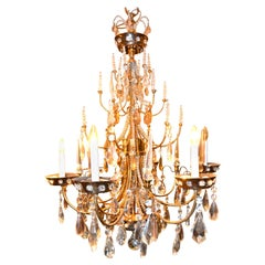 Gilded Metal and Crystal Chandelier from the House of Baguès in Paris