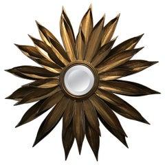 Gilded Metal Starburst Mirror