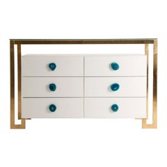 Gilded Metal with White Lacquer Wooden and Agate Handles Large Chest of Drawers