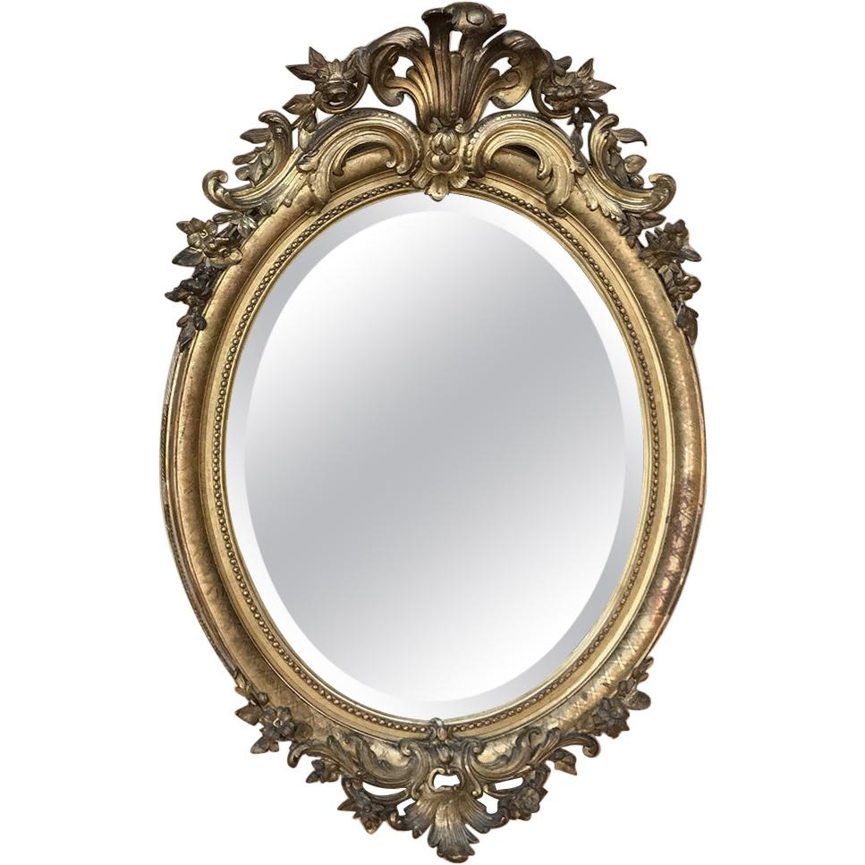 Gilded Mirror, 19th Century French Louis XVI Oval