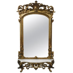 Gilded Mirror with Marble Top Pedestal