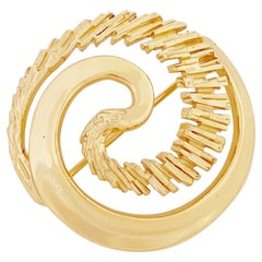 Gilded Modernist Brutalist Abstract Circle Brooch By Napier, 1980s