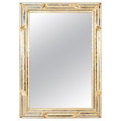 Gilded Multi-Faceted Italian Venetian Hollywood Regency Italian Wall Mirror