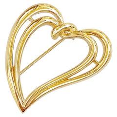 Gilded Open Heart Brooch By Trifari, 1980s