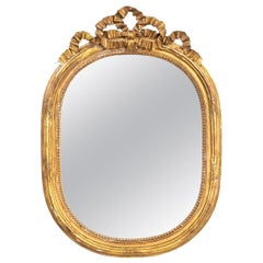 Gilded Oval Mirror with Bow Detail