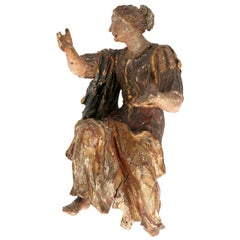 Gilded & Painted German Baroque Female Figure