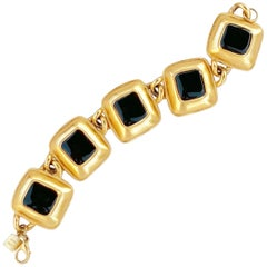 Gilded Puffy Square Link Bracelet with Black Enameling By Anne Klein, 1980s