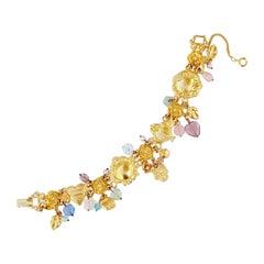 """Gilded """"Remember Love Joy Peace"""" Dangle Charm Bracelet By Kirks Folly, 1980s"""