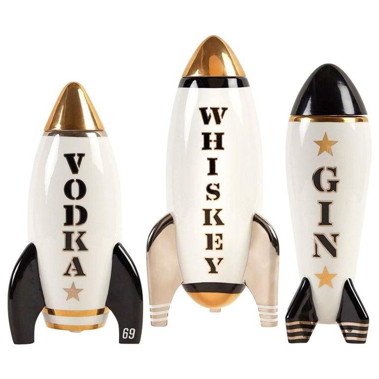 Gilded Rocket Decanter Set For Sale