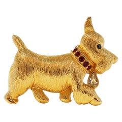 Gilded Scottie Dog Brooch with Rhinestone Details by Napier, Signed