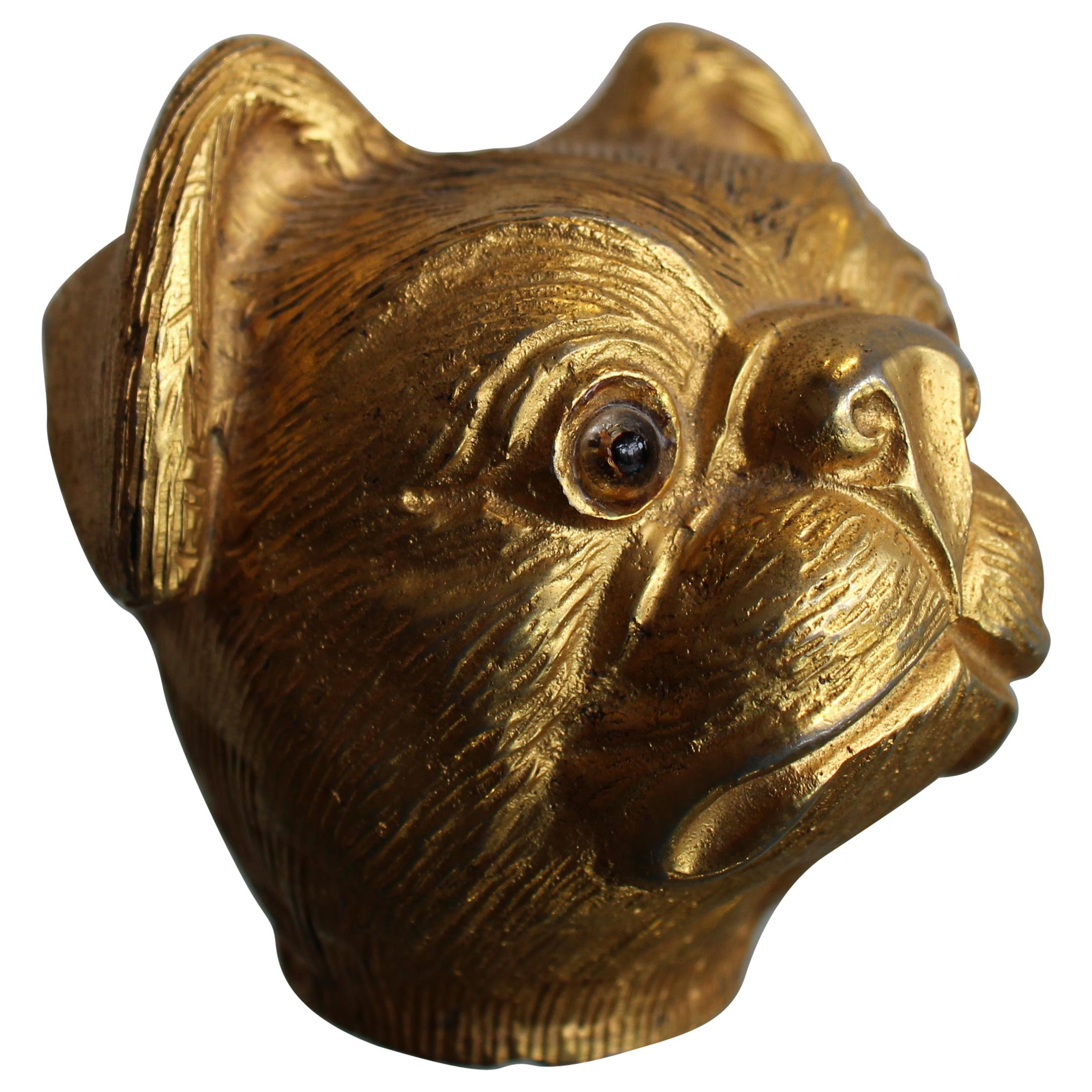 """Gilded Sculpture of a Pug """"Mika"""" by Valentino, 1980, Walking Stick Dog Figure"""