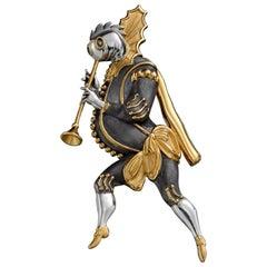 Gilded Silver 22 Karat with 24 Karat Gold Plating Brooch