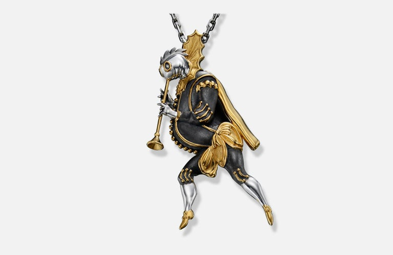 Brooch/Pendant The Aquatic Trumpeter. Bestiary series. Gilded silver 22k enamel brooch/pendant with 24k gold plating Pin 14k white gold 0.5 gr  Inspired by the costume design that Chemiakin undertook for the Mariinsky Theatre's productions of the