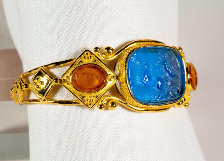 Etruscan Revival Gilded Silver Bracelet Blue Orange Glass Paste Cameo Etruscan Jewelery Style For Sale