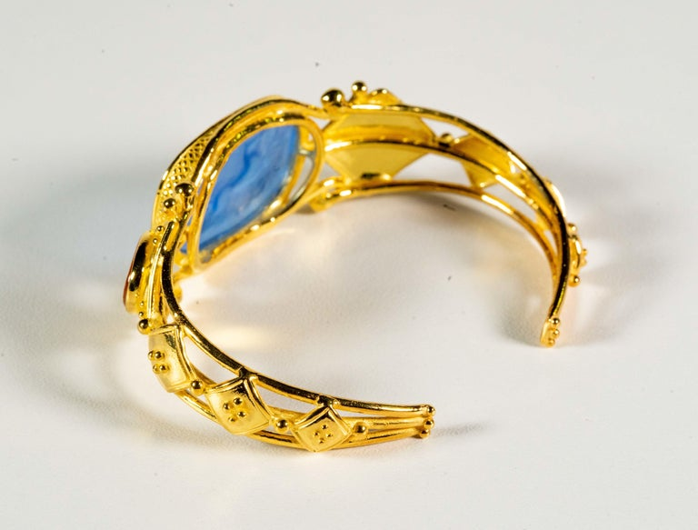 Women's Gilded Silver Bracelet Blue Orange Glass Paste Cameo Etruscan Jewelery Style For Sale