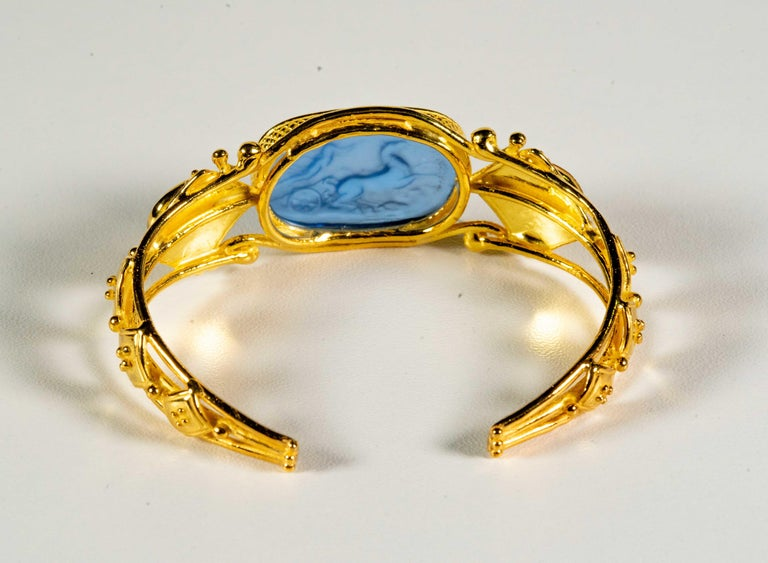 Gilded Silver Bracelet Blue Orange Glass Paste Cameo Etruscan Jewelery Style For Sale 1