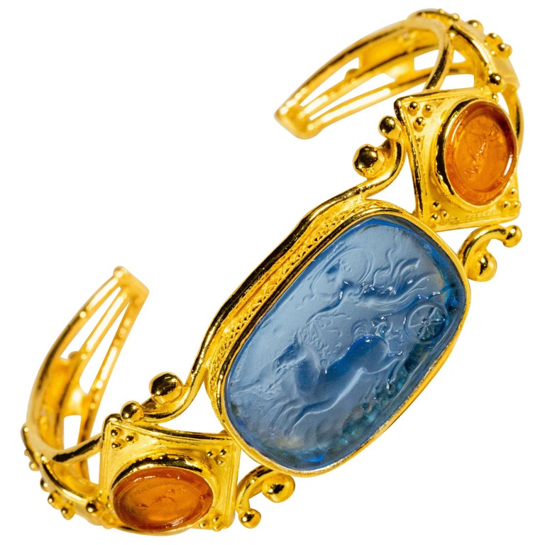 Gilded Silver Bracelet Blue Orange Glass Paste Cameo Etruscan Jewelery Style For Sale