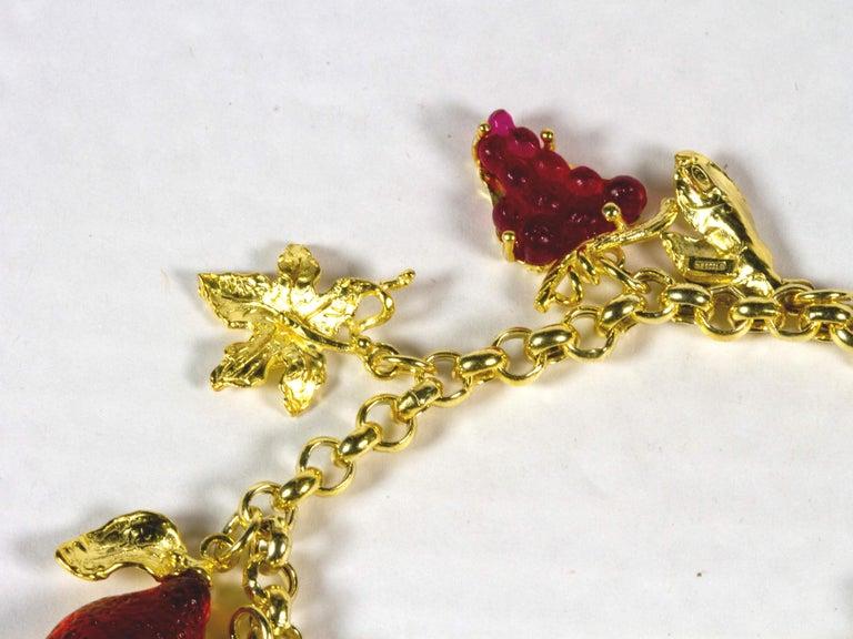 Women's Gilded Silver Bracelet Silver Leaf Glass Paste Fruit For Sale
