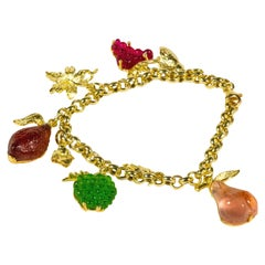 Gilded Silver Bracelet Silver Leaf Glass Paste Fruit