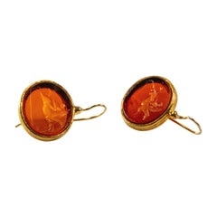 Gilded Silver Earrings Glass Paste Cameo Etruscan Jewelry Style