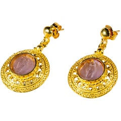 Gilded Silver Earrings Lilac Glass Paste Angels Cameo Etruscan Jewelry Style
