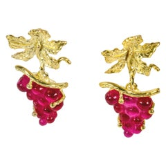Gilded Silver Earrings Silver Leaf Glass Paste Grapes