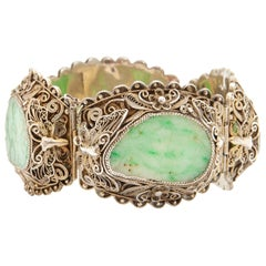 Gilded Silver Filigree Carved Green Jadeite Jade Hinged Link Bracelet