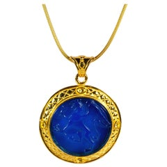 Gilded Silver Necklace Blue Glass Paste Hippogriff Cameo Etruscan Jewelry Style