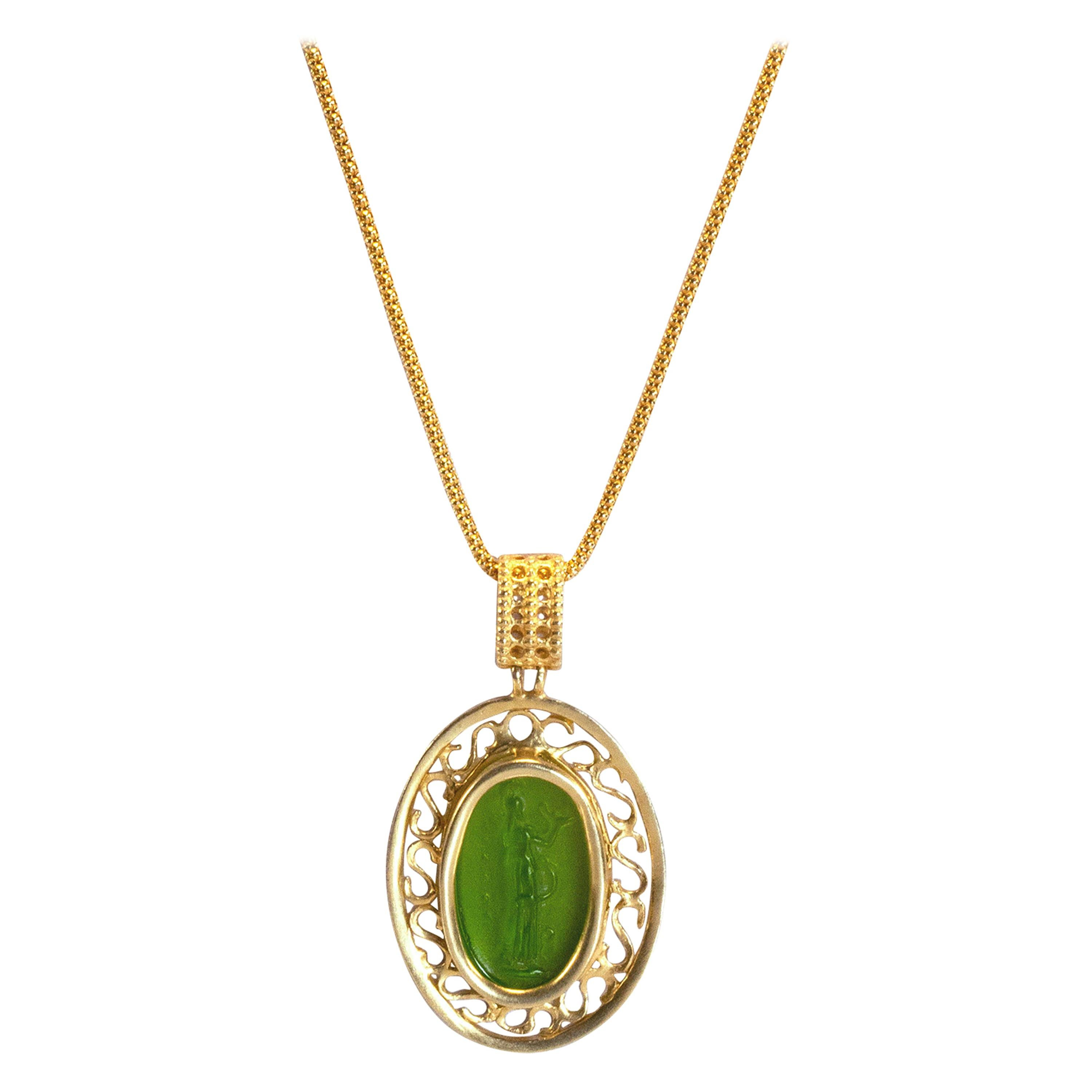 Gilded Silver Necklace Green Glass Paste Cameo Etruscan Jewelry Style
