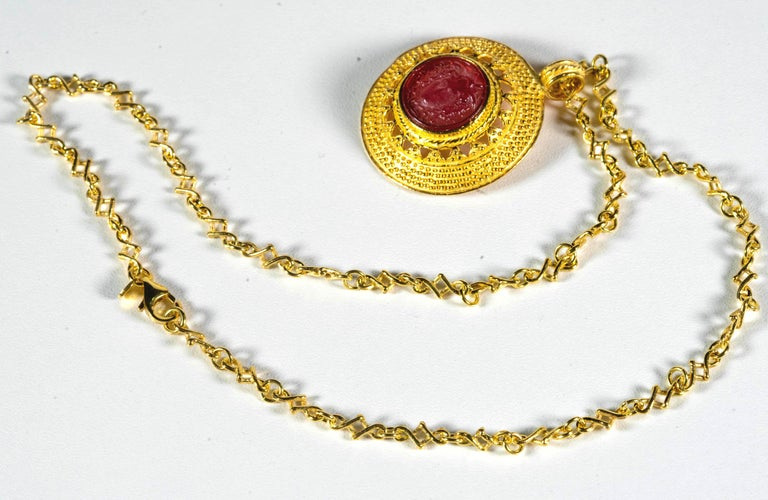 Women's Gilded Silver Necklace Red Glass Paste Medusa Cameo Etruscan Jewelry Style For Sale
