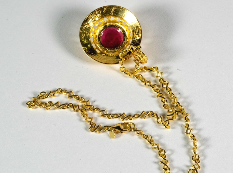 Gilded Silver Necklace Red Glass Paste Medusa Cameo Etruscan Jewelry Style For Sale 1