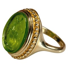 Gilded Silver Ring Green Glass Paste Centaur Cameo Etruscan Jewelry Style