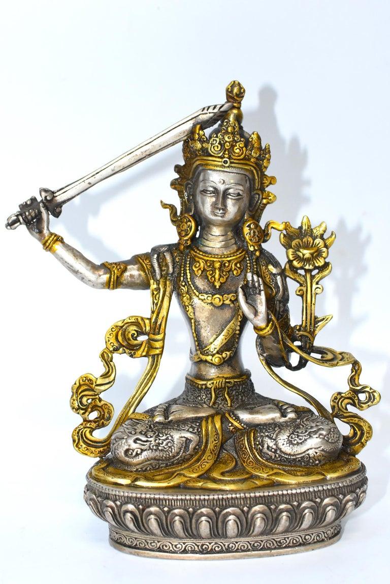 Gilded Silver Tibetan Buddha Manjushree with Sword of Wisdom For Sale 5