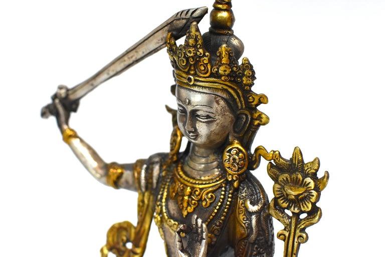 Gilded Silver Tibetan Buddha Manjushree with Sword of Wisdom For Sale 6